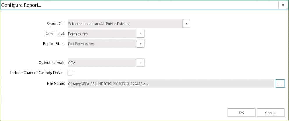 Public Folder Permission Report Configuration Options.